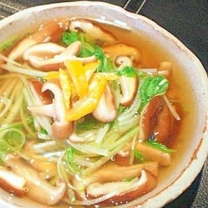 簡単だけど料亭の味♪水菜と椎茸の煮浸し。