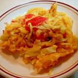 キャベツと福神漬けの卵炒め