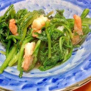 菊菜とえび炒め