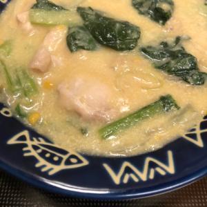 濃厚♪鶏肉と小松菜の豆乳クリームコーン煮^_^