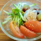 ぶどう青しそ玉ねぎトマトきゅうりサラダ