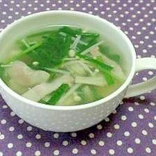 えのきとにらの即席スープ