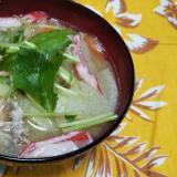 豚肉とじゃがいもと人参とゴボウと蟹カマの味噌汁☆