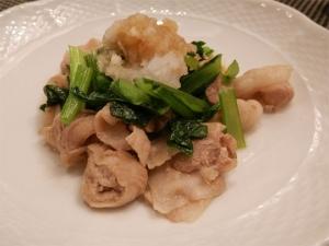 豚ばらと小松菜炒めあっさりポン酢かけ