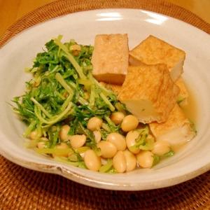 厚揚げと大豆と水菜で✿焼きあごだし風味の煮浸し