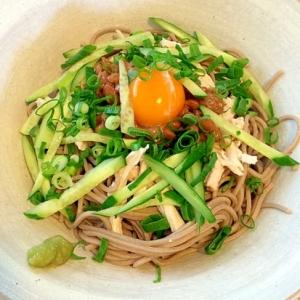 ネバネバ☆納豆と親子蕎麦