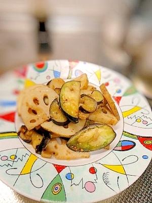 野菜のおかず☆蓮根とナスのマスタード炒め