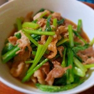 ササッと簡単☆豚こま肉と小松菜の炒め物