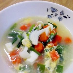 具たくさん*ニラとブナピーの豆腐かき玉中華スープ*