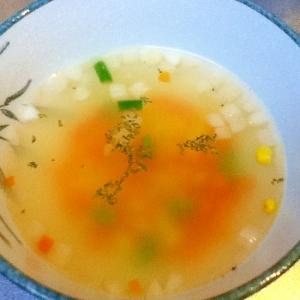 レンジで簡単!コンソメスープ