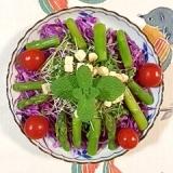 クルトンも入れて、アスパラと紫キャベツのサラダ