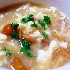 なめことくずし豆腐のかき玉スープ