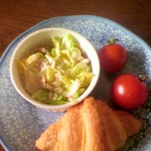 白菜のツナマヨサラダとクロワッサンワンプレート