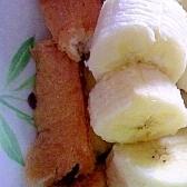 フレンチトーストのバナナチョコクリームのせ