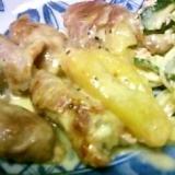 ぶた薄切り肉のパイナップルロールチーズソース