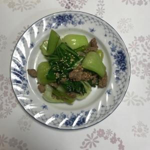 簡単・時短・節約!ひき肉とチンゲン菜のオイマヨ炒め