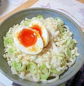 半熟たまごと山芋☆ぶっかけうどん!
