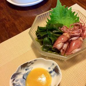 手作り酢味噌で☆ほたるイカとわかめの酢味噌和え