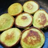南瓜とバナナと青汁粉のふわふわホットケーキ