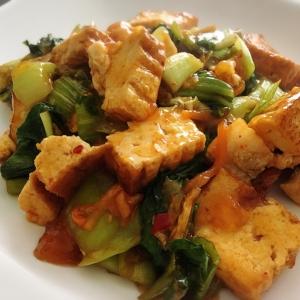 簡単☆青梗菜と白菜キムチde厚揚げ炒め
