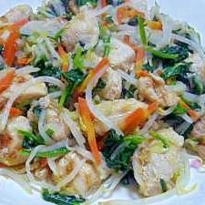ネギ塩ささみの野菜炒め