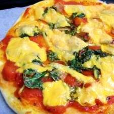 水菜とベーコンのピザ pizza! 生地はHB使用