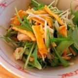 彩り一品◎水菜と鶏皮のサラダ