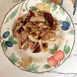 豚肩ロース、玉葱、椎茸の炒め物