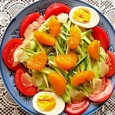 冷やし中華と野菜サラダとフルーツ