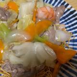 シーフード&豚肉で皿うどん♬野菜もたっぷり!!!