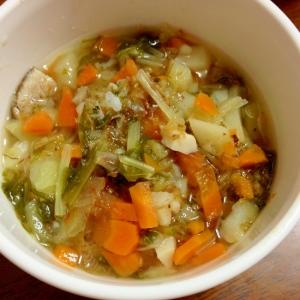 離乳食後期  人参ニラ水菜玉ねぎの出汁スープ