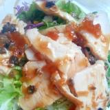 玉ねぎドレッシングで★キャベツと水菜と鶏ハムサラダ