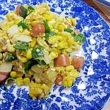 ウインナーと野菜の塩麹卵炒め