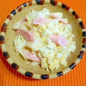 白菜と魚肉ソーセージのわさびマヨ和え♪