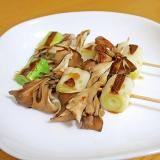 レンジとフライパンで「ねぎま」☆葱と舞茸の串焼き