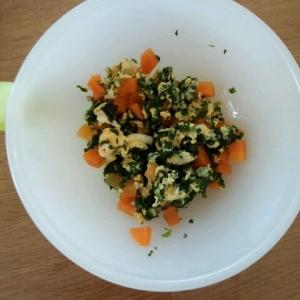 離乳食☆後期☆ 小松菜と人参の卵とじ