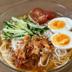 素麺アレンジ☆めんつゆとすし酢で韓国冷麺スープ風
