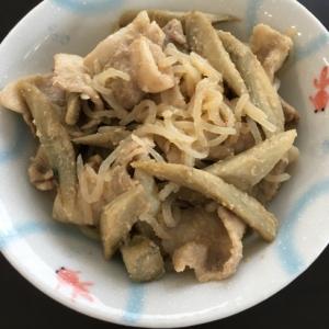 ゴボウとこんにゃくの豚肉味噌炒め