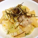 めんつゆで簡単☆鶏肉と白菜の卵とじ丼