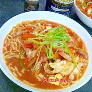 豚バラ肉の野菜炒めラーメン☆味噌
