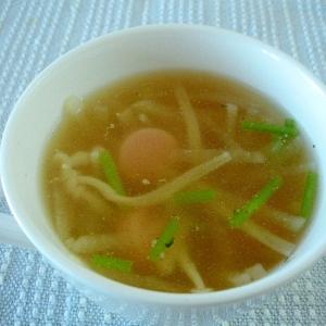 ソーセージと大根とエノキの中華風ごぼうスープ♪