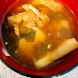 じゃが芋と油揚げ、わかめの味噌汁