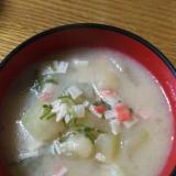 冬瓜&カニカマ&ネギの豚骨スープ