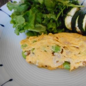豚肉と枝豆のオムレツ