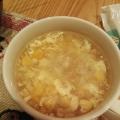 コーンと鶏むね肉の卵スープ(^^)