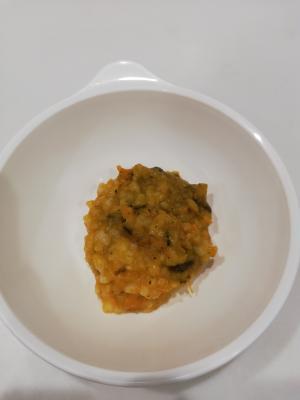 離乳食中期☆冷凍栗かぼちゃでおかゆ