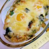 サバ缶で(^^)卵&ほうれん草&チーズのグラタン♪