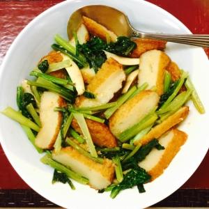 さつま揚げと小松菜の辛味噌炒め