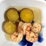 さつま芋、アルゼンチン海老の煮物