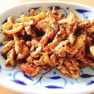 【夫婦のおつまみ】鶏胸肉とパプリカのカレーマヨ炒め